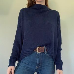 Lumiere navy blue chunky knit sweater